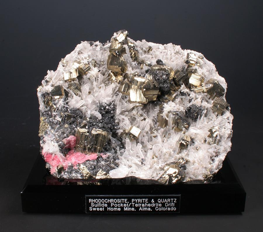 Pyrite,Quartz,Rhodochrosite Colorado